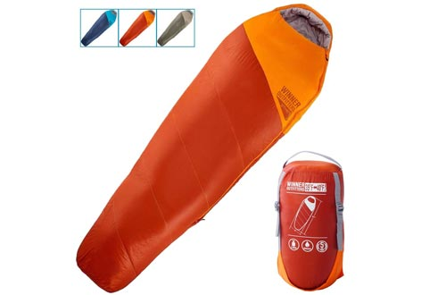 WINNER OUTFITTERS Mummy Sleeping Bags with Compression Sack, It's Portable and Lightweight for 3-4 Season Camping, Hiking, Traveling, Backpacking and Outdoor