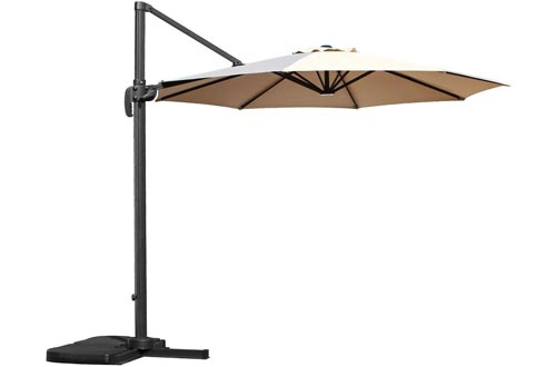 LCH 10 Ft Offset Patio Umbrella 8 Ribs Cantilever Umbrellas Outdoor Market Hanging Umbrellas Easy Open Lift 360 Degree Rotation with Cross Base Perfect for Backyard, Beige