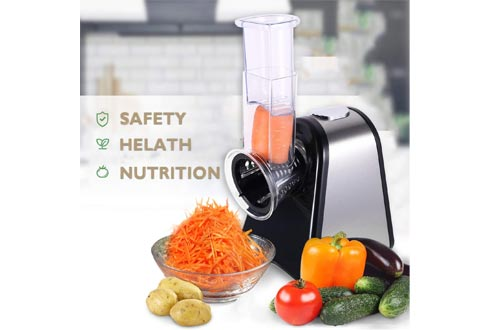 Professional Slicer/Shredder Machine, Automatic Vegetables Electric Slicer/Shredders with One-Touch Control and 4 Free Attachments for fruits, vegetables, and cheeses 4 C