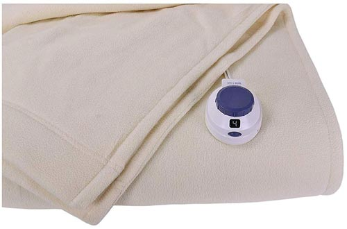 SoftHeat by Perfect Fit | Luxury Micro-Fleece Low-Voltage Electric Heated Blankets (Twin, Natural)