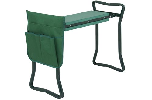 ZENY Folding Garden Kneelers Bench Seat Stool w/Kneeling Pad and Tool Pouch (Green)