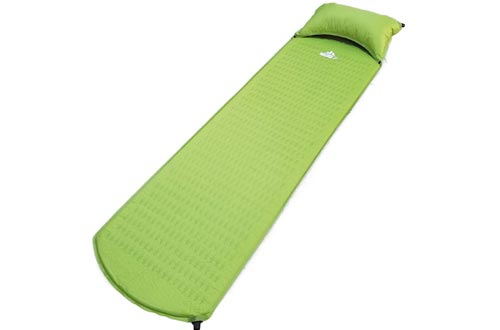 "Outdoorsman Lab Camping Pads - 73"" x 21.6"" x 1"" Self-Inflating Sleeping Pad with Pillow - Perfect Sleep Mat for Camping, Backpacking, Hiking - Portable, Folding Air Mattress for Adults, Kids, Travel"