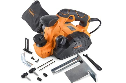 "VonHaus 7.5 Amp Electric Wood Hand Planer Kit with 3-1/4"" Planing Width and Extra Set of Planers Replacement Wood Blades"