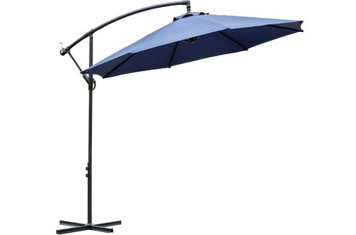FARLAND 10 ft Offset Cantilever Patio Umbrella Outdoor Market Hanging Umbrellas & Crank with Cross Base, 8 Ribs (10 ft, Dark Blue)