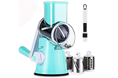 SLC Swift Rotary Drum Grater Vegetable Cheese Cutter Slicer Shredders Grinder with 3 Interchanging Ultra Sharp Cylinders Stainless Steel Drums