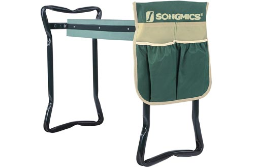 SONGMICS Garden Kneelers Seat, with Upgraded Thicken Kneeling Pad and 1 Large Tool Pouch, Foldable Stool 330lb Capacity UGGK49L