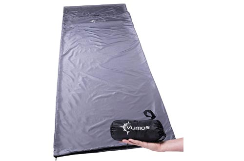 Vumos Sleeping Bags Liner and Camping Sheet – Silk Like Material for Travel - Has Full Length Zipper