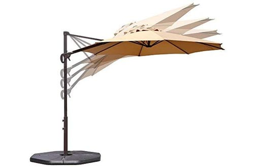 Le Papillon 10 ft Cantilever Umbrellas Outdoor Offset Patio Umbrella Easy Open, Tilt & 360 Swivel for Desired Shade All Day