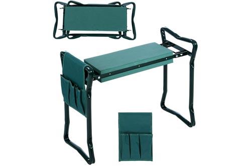 Folding Garden Kneelers and Seat with Bonus Tool Pouch, JQstar Portable Portable Garden Stool With EVA Kneeling Pad Handles (Green)