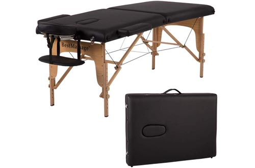 Massage Tables Massage Bed Spa Bed 84 Inches PU Portable Massage Bed 2 Fold Heigh Adjustable Massage Table Bed w/Free Carry Case Facial Cradle Salon Tattoo Bed