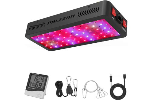 Phlizon Newest 600W LED Plant Grow Light,with Thermometer Humidity Monitor,with Adjustable Rope,Full Spectrum Double Switch Plant Lights