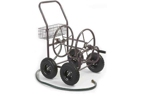 Liberty Garden Residential Grade 4 Wheel 871-M1-1 Garden Hose Reels Cart, Bronze