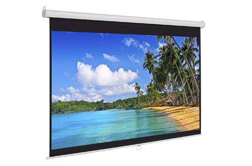 Best Choice Products 119in HD Indoor Pull Down Manual Widescreen Projector Screens for Home Theater, Office - White