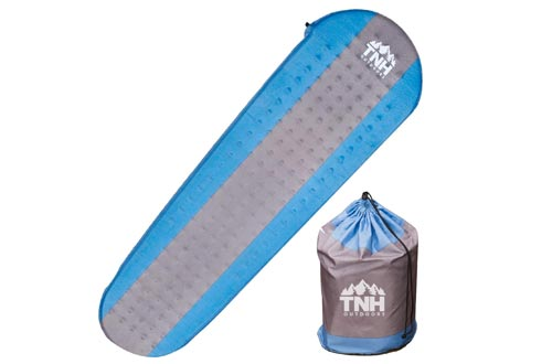 TNH Outdoors Premium Self Inflating Sleeping Pads Lightweight Foam Padding and Superior Insulation Great for Hiking & Camping Thick Outer Skin