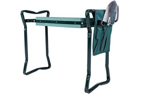 Goplus Folding Garden Kneelers Bench Heavy Duty Gardener Kneeling Pad Cushion with Tools Pouch