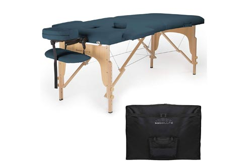 Saloniture Professional Portable Folding Massage Tables with Carrying Case - Blue