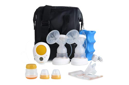 MADENAL Double Electric Breast Pumps Travel Set, Ice Pack, Breastmilk Storage Bags, Super Quiet, Effective and Comfortable with On The Go Cooler Bag
