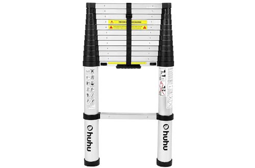Ohuhu 12.5 FT Aluminum Telescopic Extension Ladders, ONE-BUTTON RETRACTION New Design Telescoping Ladder, ANSI Certified Extendable Ladder with Spring Loaded Locking Mechanism, 330 Pound Capacity