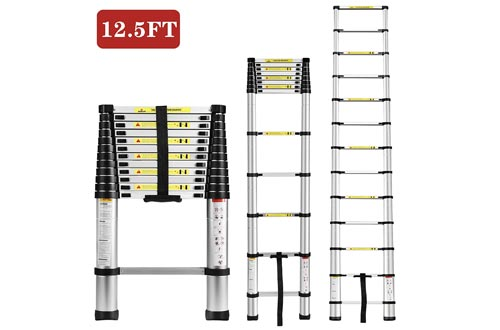 Idealchoiceproduct 12.5FT Aluminium Telescopic Telescoping Ladders Extension Steps