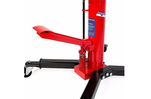 Dragway Tools 1000 LB 2 Stage Hydraulic Transmission Jacks Lift Hoist with Foot Pump